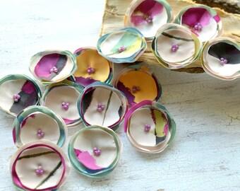 Satin fabric handmade sew on flower appliques, floral supplies, bridal flower crafts, floral embellishments (15pcs)- SOFT PASTEL FLOWERS