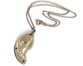 """The """"Steam Relic"""" Steampunk Necklace with STUNNING Antique Pocket Watch Plate Guilloche Engraved by Nouveau Motley"""