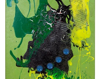 "Abstract Acrylic Painting Mixed Media Modern Original Art - Green Black Yellow 16"" x 20"""
