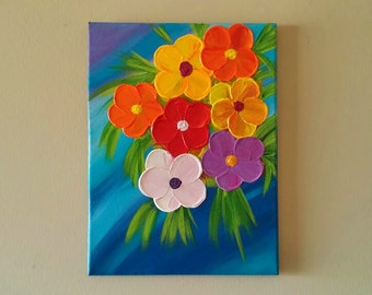 Original textured flower painting, Abstract flower painting, Flower painting,palette knife art