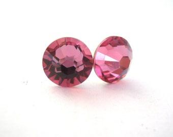 Pink Stud Earrings, Crystal Earrings, Post, Swarovski Crystal, Rose Crystal Earrings, Pink Earrings, Bridesmaid Earrings, Bridesmaid Gifts