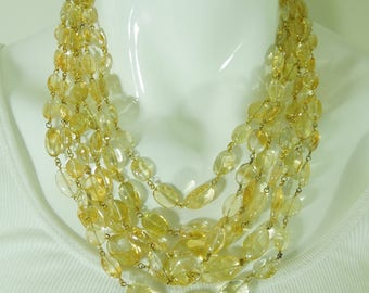 Pair Citrine Bead Necklaces Wired Tumbled Beads Six Strands Total 19 Inches Decorative Clasps