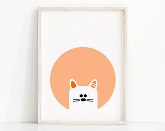 Cat Nursery Wall Art Printable, Animal Nursery Print, Baby Animal Print, Kids Wall Art, Orange Nursery Decor, Printable Nursery Art, Cat Art
