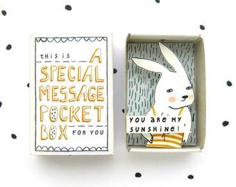 Häschen - eine spezielle Massage Pocket Box - du bist mein Sonnenschein! -Nachricht in einer Box - Appeciation Geschenk - Sonnenschein in einer box
