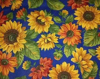 Blue Sunflower Fabric