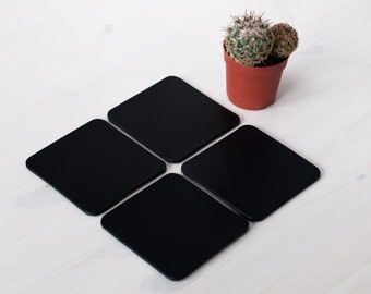 Square Leather Coasters, set of 4/6/8 coasters, beer leather coasters, drink coasters,
