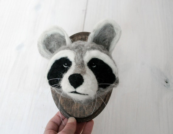 Faux Taxidermy Felt Raccoon (Procyon lotor)