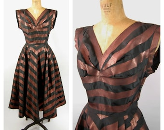 1950s Striped Taffeta Party Dress // 26 27 Waist // Copper and Black Metallic Nipped Waist - Fit and Flare Marshall Field  Early 50s Formal