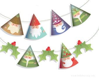 DIY Printable Art Woodland Gnomes Santa Claus Banner Garland PDF download gnome Scrapbook Christmas Ornaments Party Decorations
