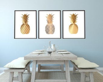 Set of 3 Shades of Gold Pineapples  8x10 , 11x14 or 13X19 Coastal Boho