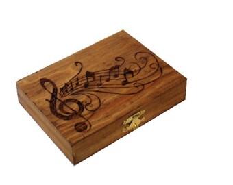 Oboe Reed Case, Wood-burned, Holds 28 reeds