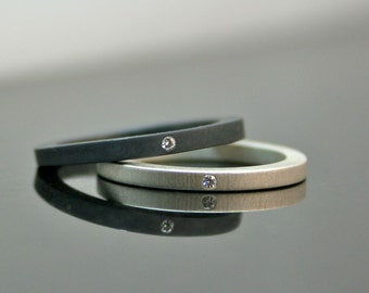 Simple Diamond Rings - Stackable Silver Wedding Ring Set - Matte and Oxidized Engagement Rings - Minimalist Wedding Bands