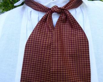 Bordeaux et or à carreaux soie cravate, style du XIXe siècle