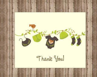BABY SHOWER Thank You Cards Notecards/ Set of 10  Woodland Baby Shower/ Personalize With Your Wording/ Cute Baby Clothesline /Baby Fox