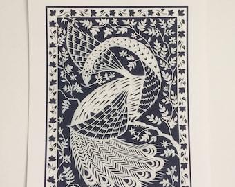 White Peacock - Print from original papercut A4