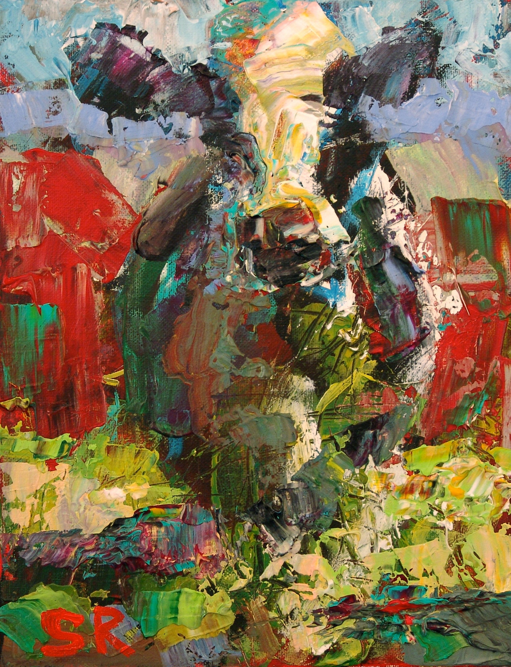 Cow Painting 36 x 48 Original Large Cow Painting Abstract Cow for Farm Philippines Painting  587fsj