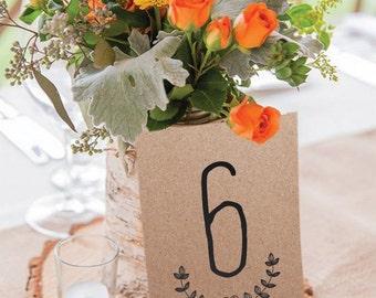 Eco Kraft Table Numbers - Wedding Vintage Table Numbers by Pineapple Invitations