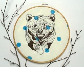 Bear. Embroidery pattern pdf. Hand embroidery design. DIY wall art. Statement wall art.Cushion cover design.DIY home decor.Bear illustration