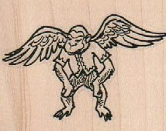 Rubber stamp Halloween Flying Monkeys   Wizard of Oz wood Mounted  scrapbooking supplies number 2530