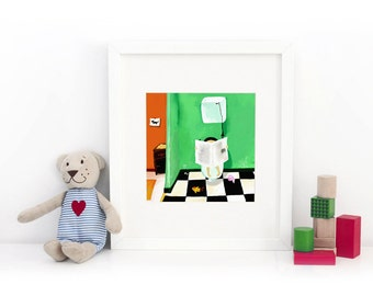 On the Toilets - Deluxe Edition Print - Whimsical Art