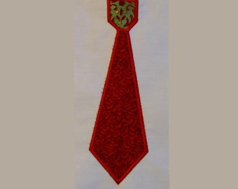 5x7 Necktie Applique Machine Embroidery Design Single