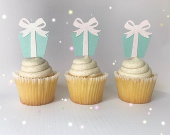 Breakfast at Tiffanys Party| Tiffany and Co Baby Shower Decor| Tiffany and Co Bridal Shower| Tiffany and Co Cupcake Toppers