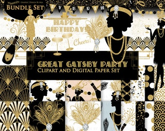 Great Gatsby, Birthday Party, Glitter Gold, Flapper, 1920, Roaring 20s, Art Deco, Belle Époque Clip Art + Digital Paper Set