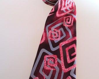Zoot suit zig zag design tie, vintage silk tie, hipster style