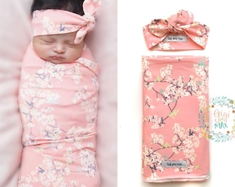 Baby swaddle blanket, pink floral newborn swaddle blanket, stroller blanket, stretchy knit swaddle blanket for baby, floral newborn baby