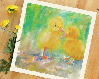 Modern Wall Decor, Chicks, Pet, Chicken, Farm Animals, 8 x 8 Art Print of Original Acrylic Painting