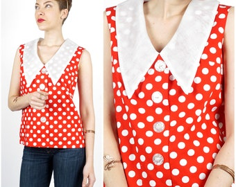 Vintage 1960s Red & White Polka Dot Sleeveless Button-Up Shirt with Oversized Sheer Chelsea Collar by Eve Le Coq | Small/Medium