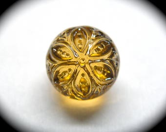 Antique Button ~ Yellow Glass Charmstring Swirlback with Flower & Metallic Luster