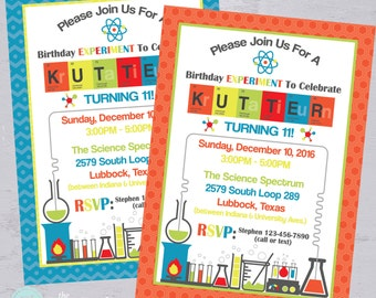 Science Party Invitation   Mad Scientist Birthday Party    Science Lab   Birthday Experiment   Printable Invitation   The Party Darling