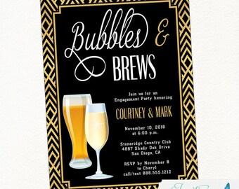 Art Deco Bubbles and Brews Engagement Party Invitation | Champagne and Beer, Champagne Invitation, Beer Invitation, Brew, Engagement Invite