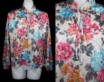 7 DOLLAR SALE---Vintage 80's Tie Neck Floral Shirt Top M/L