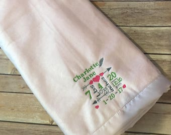 Personalized baby stats embroidered blanket
