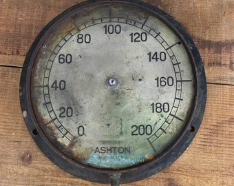 Large Vintage Ashton Pressure Gauge - Rustic Decorative Pressure Gauge - Solid Metal made in Boston - Industrial Steampunk Pressure Gauge