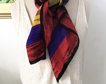 Vintage Elaine Gold Scarf - 1980s 100% Silk Classic Style Preppy Luxury Neckwear Gifts Under 40 Geometric Modern