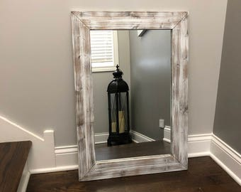 WHITEWASH Mirror, Wood Framed Mirror, Rustic Wood Mirror, Bathroom Mirror, Whitewashed Wall Mirror, Vanity Mirror, Small Large Mirror, Gift