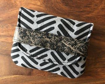 Card Case - Steel Gray and Black Herringbone