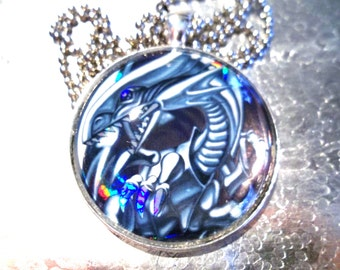 Yugioh Classics - Blue Eyes White Dragon Yugioh Glass Pendant Made from Vintage Trading Cards