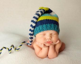 Newborn Boy Knit Hat BaBY PHoTO PRoP Long Stocking Cap BoHO Navy Aqua Grey Teal Stripe ToQUe Unisex TiNKeR BeANiE Coming Home CHooSE CoLOR