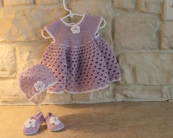 Crochet baby girl dress, hat and shoe set