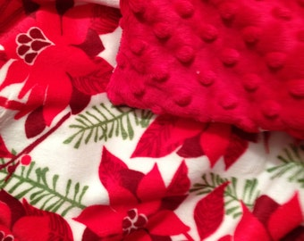 Minky Blanket,Christmas Poinsettia Blanket,Pine trees,Christmas Trees. Couch Throw, Adult Blanket size 50 x 60