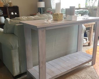 Grey rustic sofa table