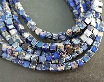 Royal Blue Sea Sediment cube Beads small 4x4x4mm -small Blue stone Cube beads -90pcs/strand