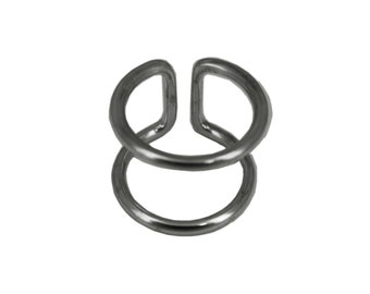 Ring black oxidized sterling silver double rings