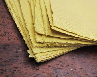 "Recycled paper sheets, Turmeric Handmade paper, Naturally dyed paper, Decorative paper, Textured paper, Beautiful Homemade paper, 6"" x 8.5"""