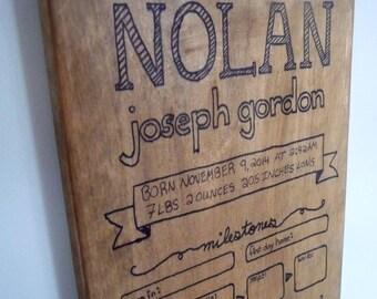 Custom Growth Chart & Visual Baby Book - Wood Sign