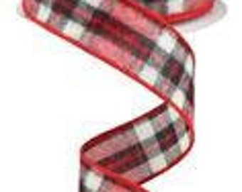 fuzzy red plaid ribbon, ribbon by the roll, wired edge ribbon, ribbon, wired ribbon, wired ribbon by the roll, wired ribbon for wreath